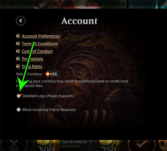 how to enable detailed logs in MTG Arena