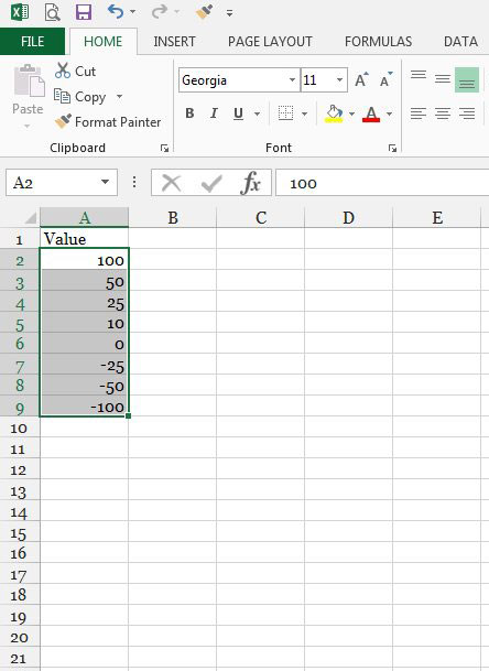 select the cells to format