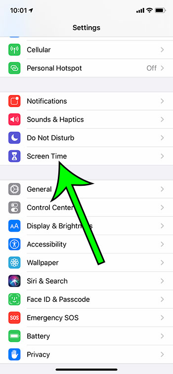 open the Screen Time menu
