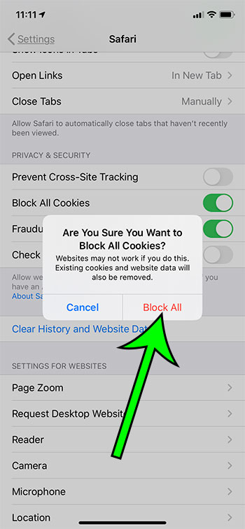 what does block all cookies mean in Safari on an iPhone