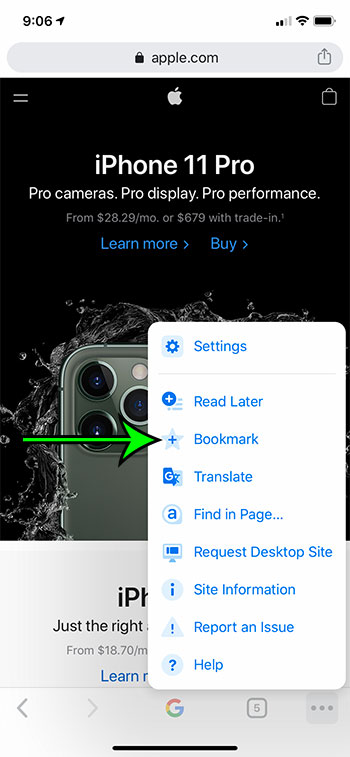 how to bookmark a page in the Google Chrome iPhone app