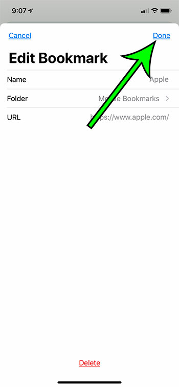 the edit bookmark screen in the Google Chrome iPhone app