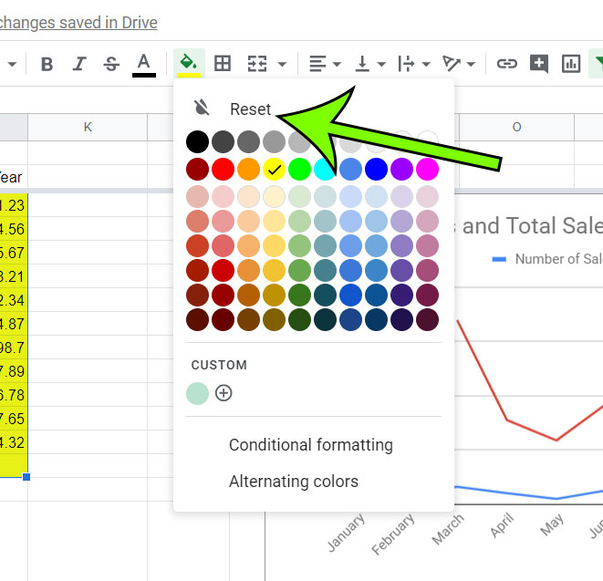 how to remove shading from cells in Google Sheets
