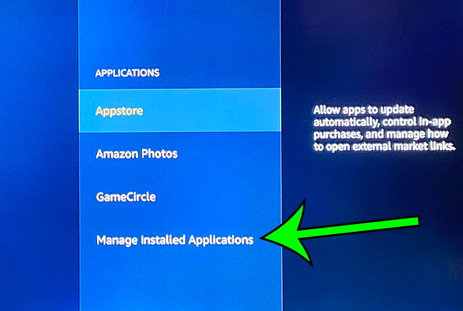 select the Manage Installed Applications option