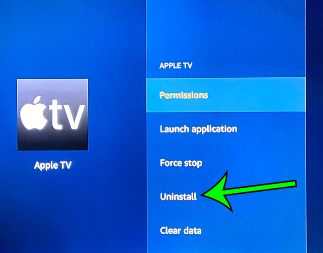 how to delete a Fire TV app