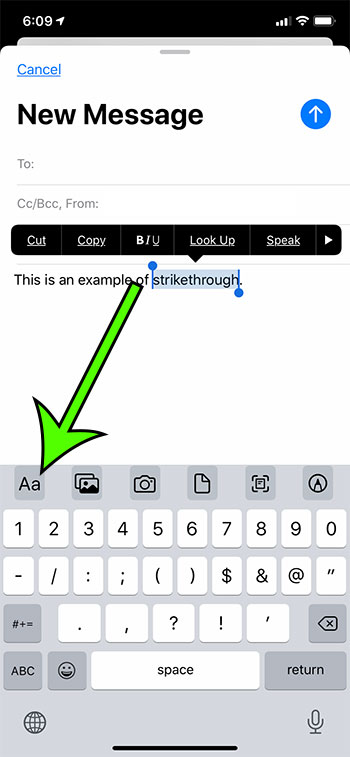 how to draw a line through text in an email on an iPhone