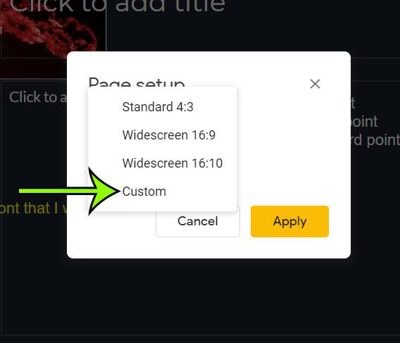 select the Custom slide size option