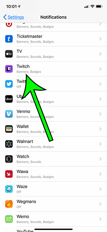 select Twitch from the list of apps