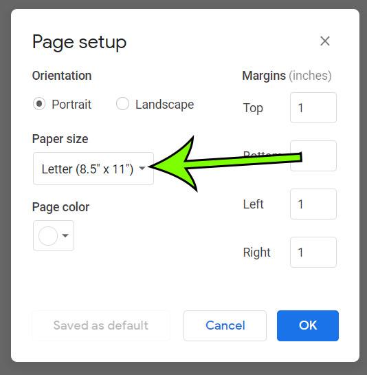 click the Paper size dropdown menu