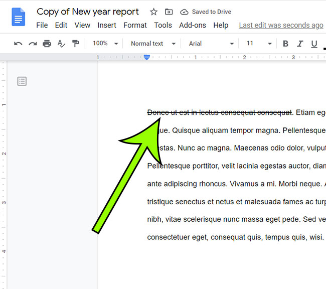 Google Docs strikethrough example