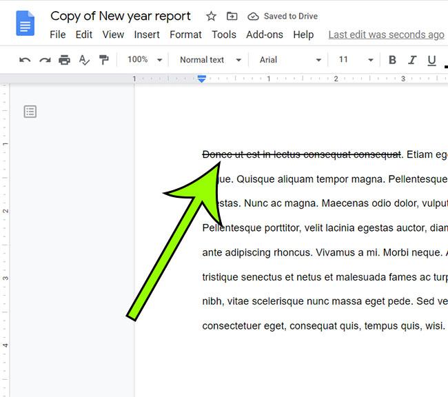 Google Docs strikethrough example