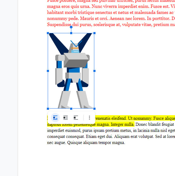 Google Docs rotated picture