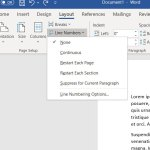 how to add line numbers at the left side of the screen in Microsoft Word