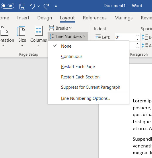 how to add line numbers in Word