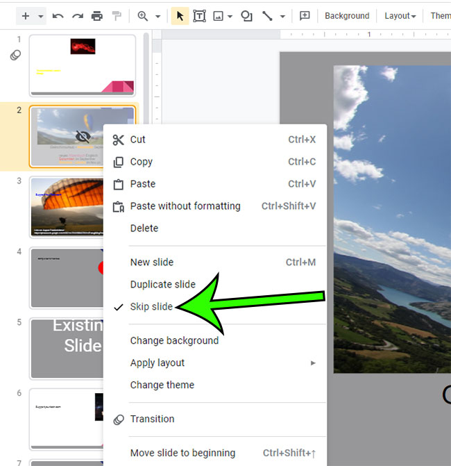 how to stop hiding a slide in Google Slides