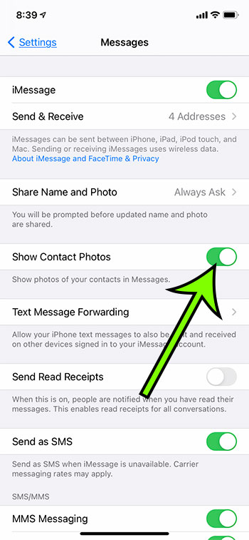 how to show contact photos in messages on an iPhone