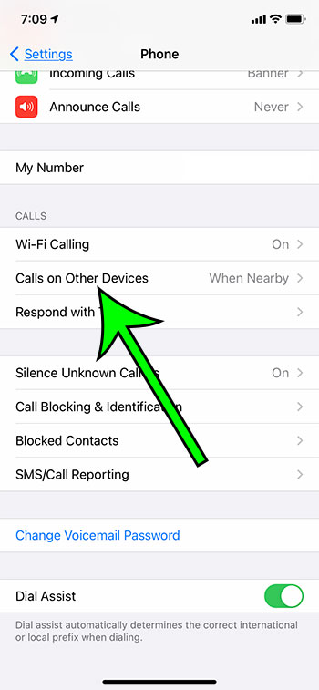 select Calls on Other Devices