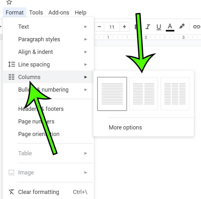 how to add a column in a Google Doc