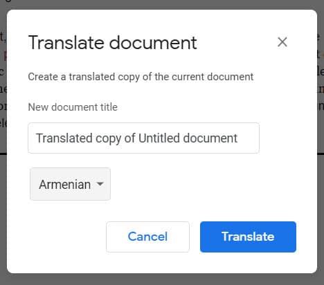 how to change google docs language