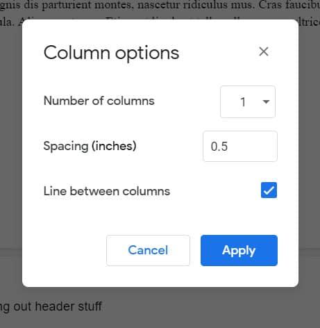 add a line between columns in google docs