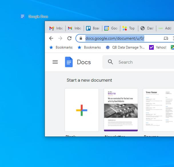 drag and drop to put Google Docs on the desktop