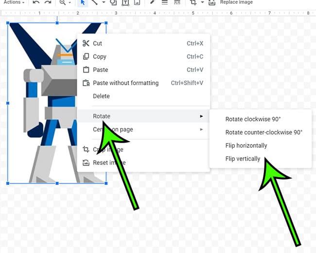 how to flip image in Google Docs