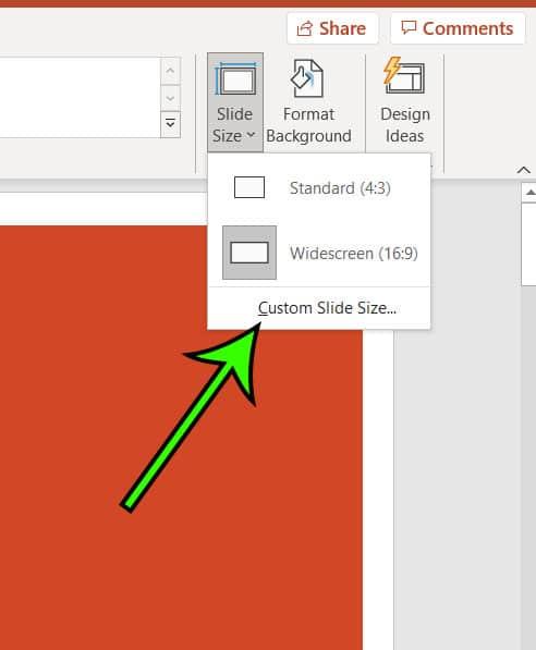 select Custom Slide Size