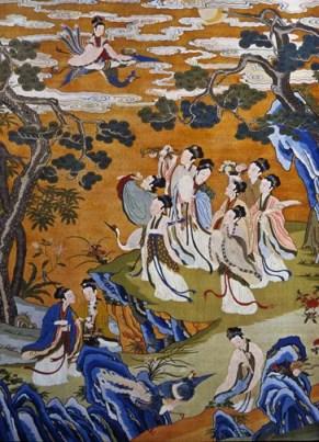jade maidens gather in a wilderness garden as the goddess flies in on a phoenix