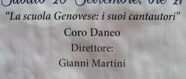 Sabato 20 Settembre il Coro Daneo in concerto a Villa De' Mari