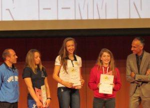 Le atlete premiate al Trofeo Messina, Junior Femminile. da sinistra a destra Michea Redemagni, Giorgia Longo e Susanna Soressi