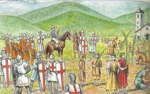 Palmieri e Crociati di ritorno dalla Terrasanta alla Pieve dellAssunta in Pra-Palmaro.Bozzetto di Andrea Bruzzone