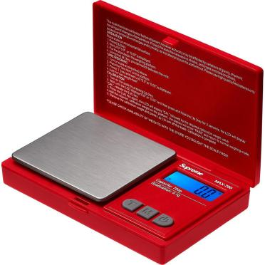 "Supreme®/AWS® MAX-700 Digital Scale - Plastic and stainless steel digital pocket scale. Maximum weight capacity is 700 g. 4.5"" x 3"" x 1""."