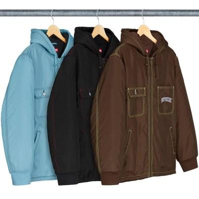Sherpa Lined Nylon Zip Up Jacket