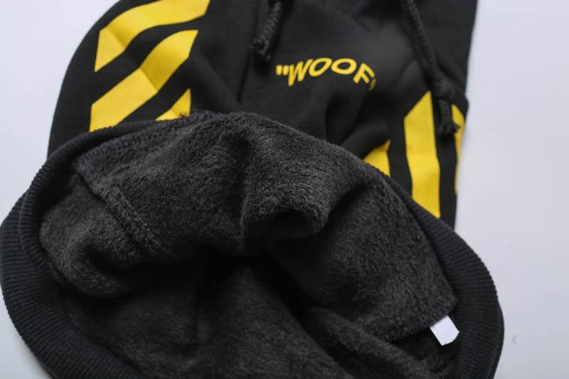 "Woof-White ""Woof"" Dog Hoodie - Yellow"