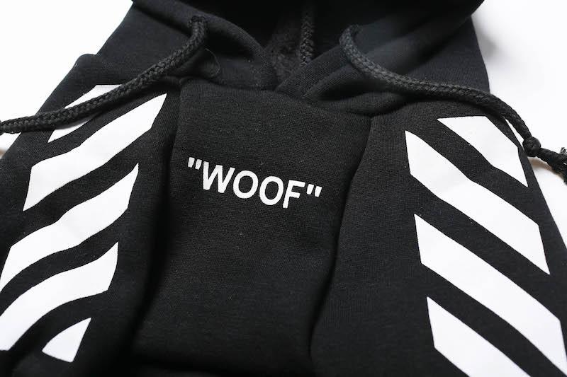 "Woof-White ""Woof"" Dog Hoodie - Black"