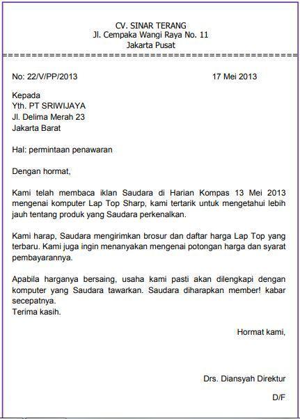 11. Contoh Surat Pesanan Barang Elektronik Kantor