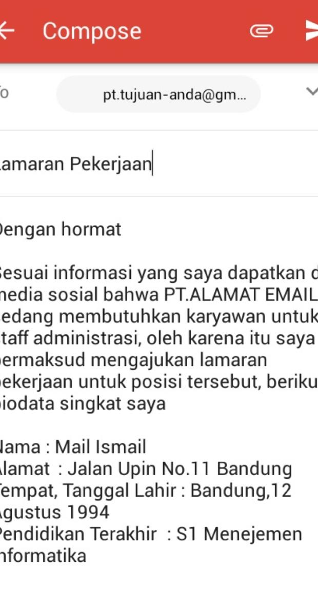 14. Contoh Surat Lamaran Kerja Via Email