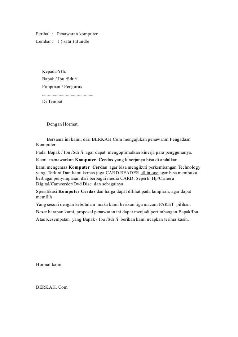14. Contoh Surat Pesanan Barang Elektronik Komputer
