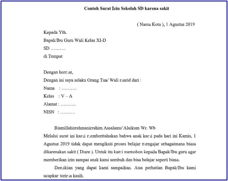 10. Contoh Surat Tidak Masuk Sekolah SD Sekolah Dasar
