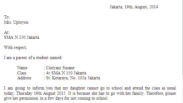 13. Contoh Surat Izin Sekolah Bahasa Inggris