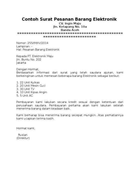 13. Contoh Surat Pemesanan Barang Dan Jasa