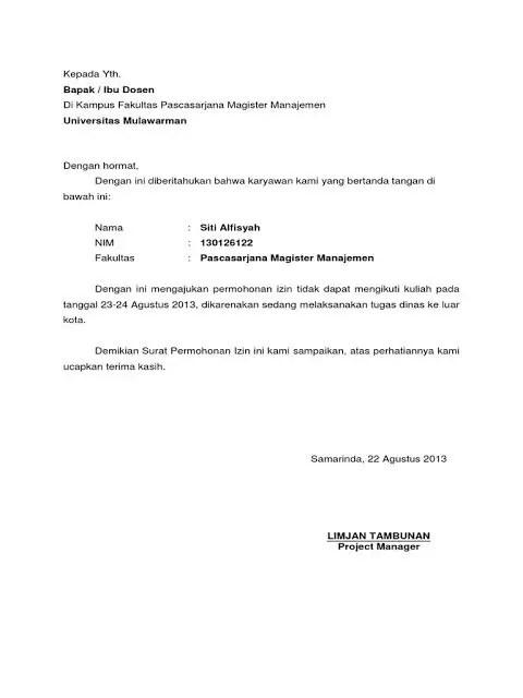 14. Contoh Surat Izin Tidak Masuk Kuliah Karena Bekerja