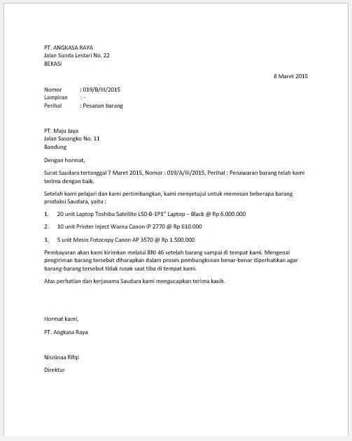 5. Contoh Surat Pesanan Semi Block Style