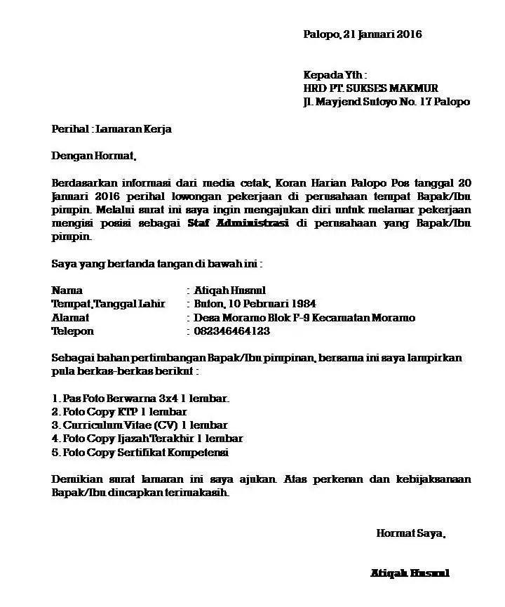 6. Contoh Surat Lamaran Pekerjaan Yang Benar