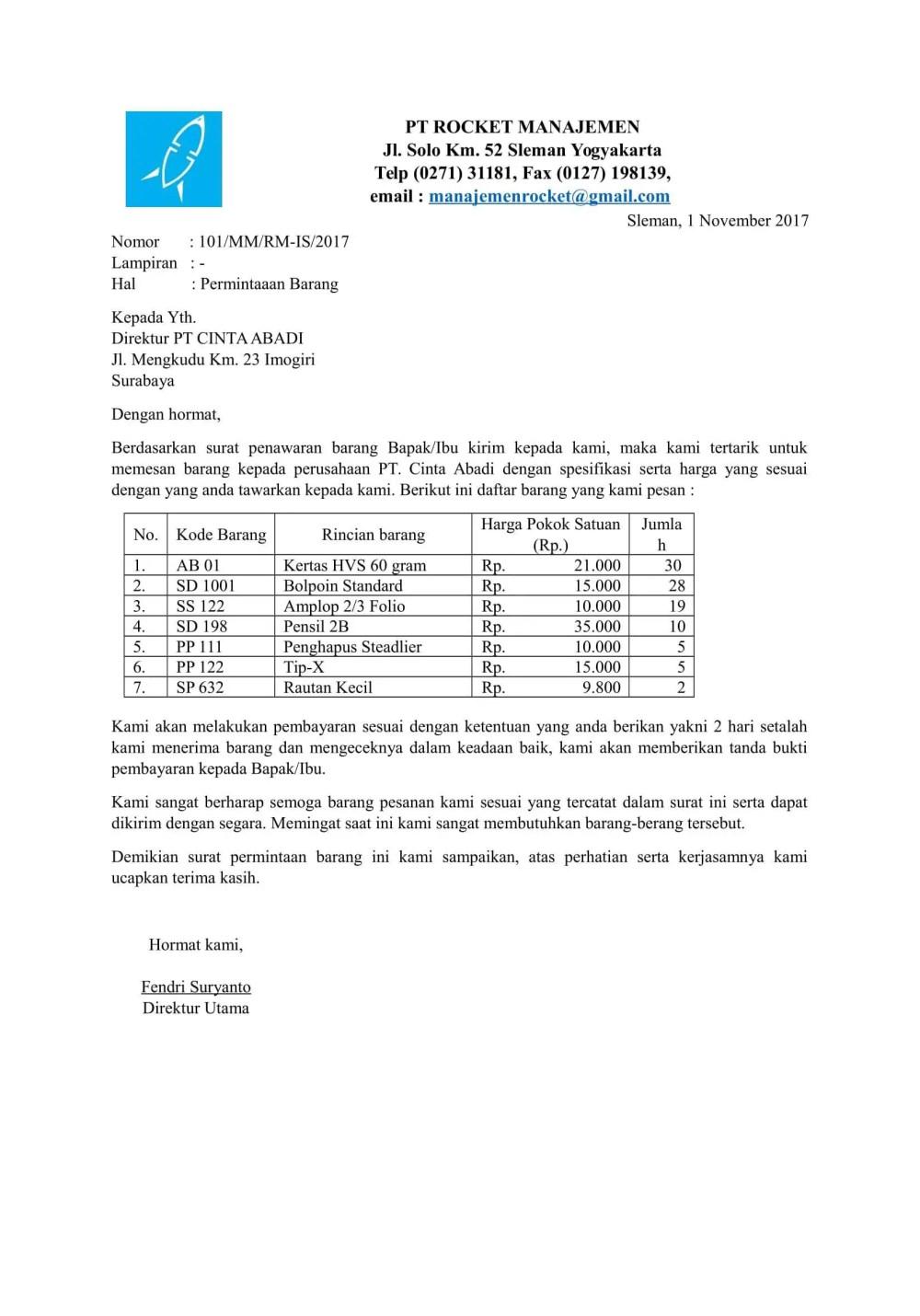7. Contoh Surat Permintaan Barang Pemerintah