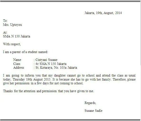 8. Contoh Surat Izin Tidak Masuk Sekolah Dalam Bahasa Inggris