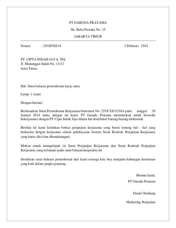 1. Contoh Surat Balasan Penawaran Barang