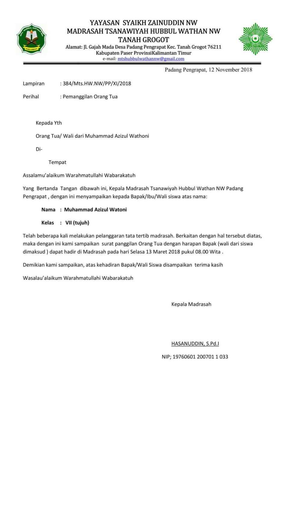 1. Contoh Surat Panggilan Orang Tua Dari Sekolah