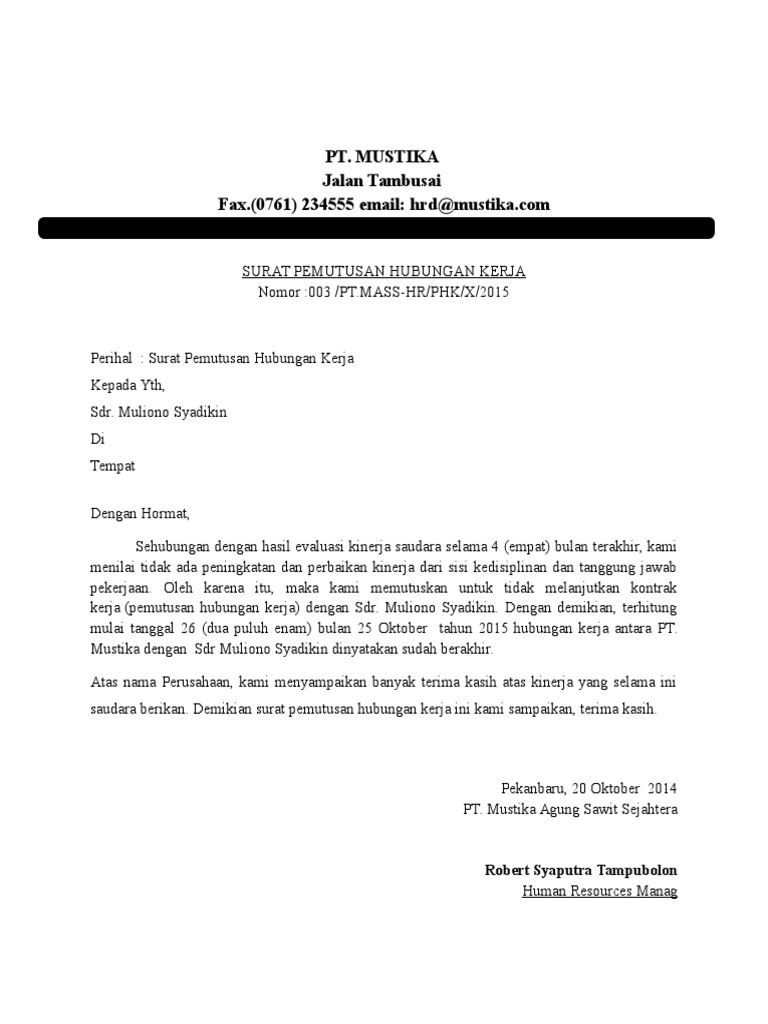 12. Contoh Surat Pemecatan Kerja Secara Tidak Hormat