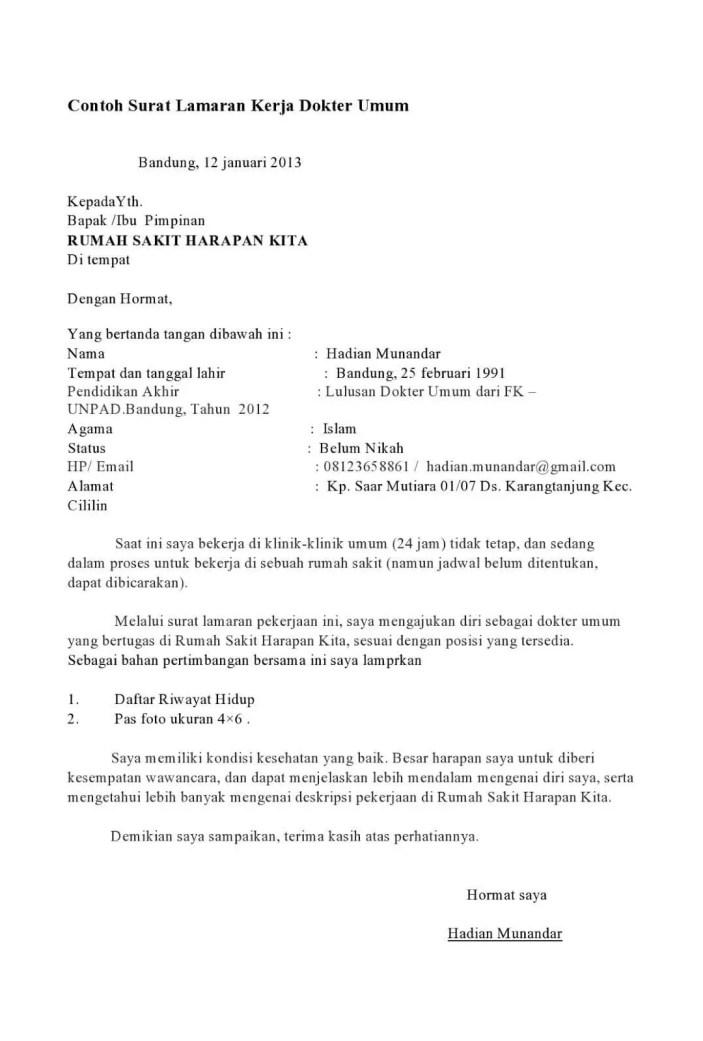 14. Contoh Surat Lamaran Kerja Di Rumah Sakit